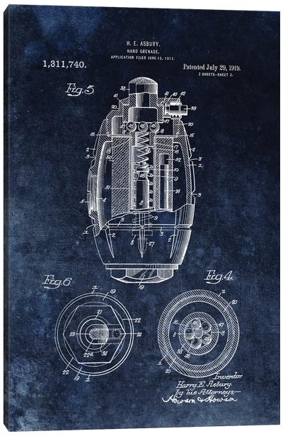 H.E. Asbury Hand Grenade Patent Sketch (Chalkboard) Canvas Art Print