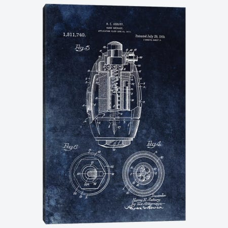 H.E. Asbury Hand Grenade Patent Sketch (Chalkboard) Canvas Print #DSP25} by Dan Sproul Canvas Art Print