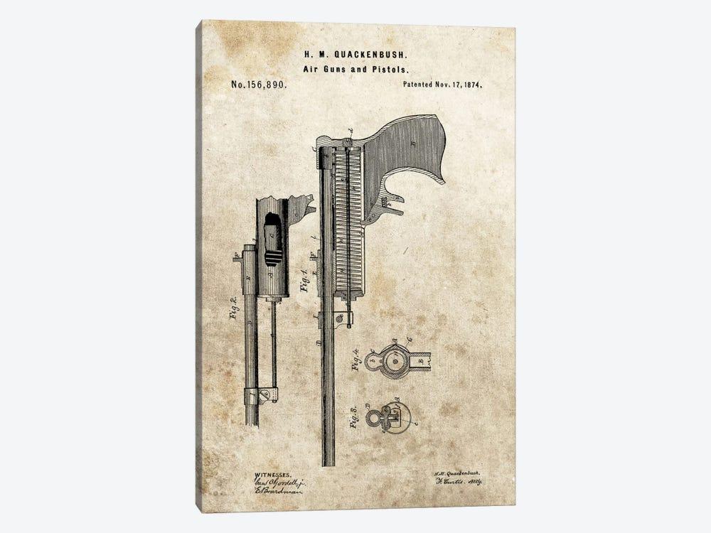 H.M. Quackenbush Air Guns & Pistols Patent Sketch (Foxed) by Dan Sproul 1-piece Canvas Print