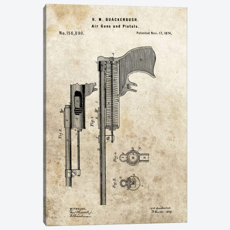 H.M. Quackenbush Air Guns & Pistols Patent Sketch (Foxed) Canvas Print #DSP27} by Dan Sproul Canvas Art Print