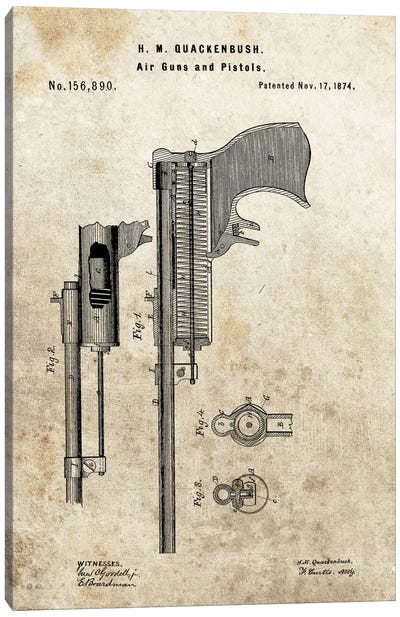 H.M. Quackenbush Air Guns & Pistols Patent Sketch (Foxed) Canvas Art Print