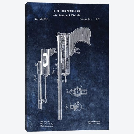 H.M. Quackenbush Air Guns & Pistols Patent Sketch (Vintage Blue) Canvas Print #DSP28} by Dan Sproul Canvas Art