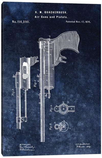 H.M. Quackenbush Air Guns & Pistols Patent Sketch (Vintage Blue) Canvas Art Print