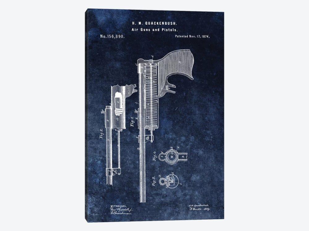H.M. Quackenbush Air Guns & Pistols Patent Sketch (Vintage Blue) by Dan Sproul 1-piece Canvas Art
