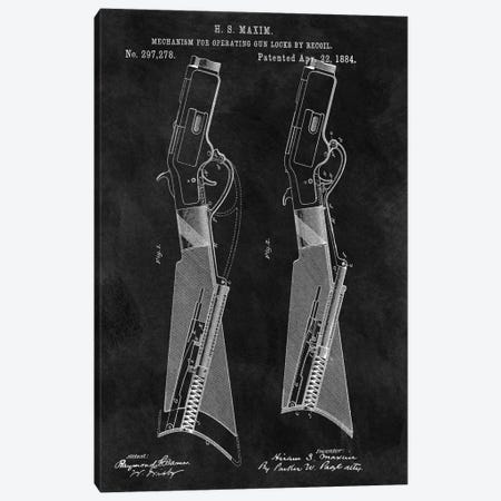 H.S. Maxim Mechanism For Operating Gun Locks By Recoil Patent Sketch (Chalkboard) Canvas Print #DSP29} by Dan Sproul Canvas Art