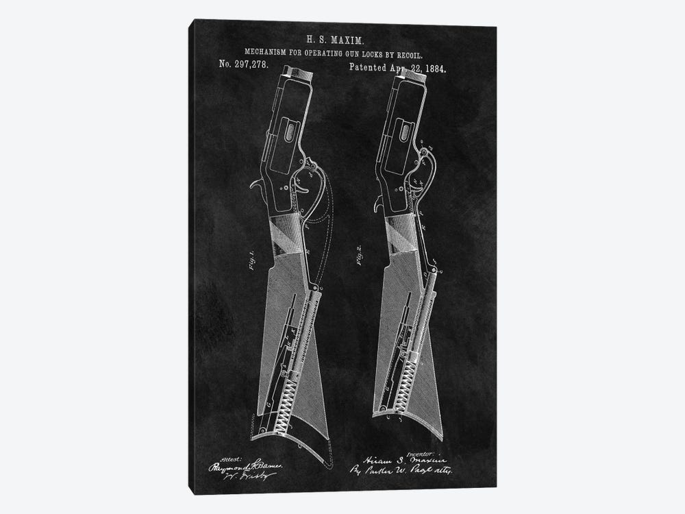 H.S. Maxim Mechanism For Operating Gun Locks By Recoil Patent Sketch (Chalkboard) by Dan Sproul 1-piece Art Print