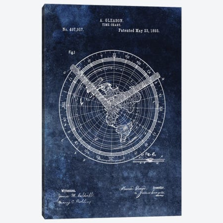 A. Gleason Time Chart Patent Sketch (Vintage Blue) Canvas Print #DSP2} by Dan Sproul Canvas Wall Art