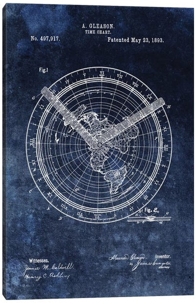 A. Gleason Time Chart Patent Sketch (Vintage Blue) Canvas Art Print