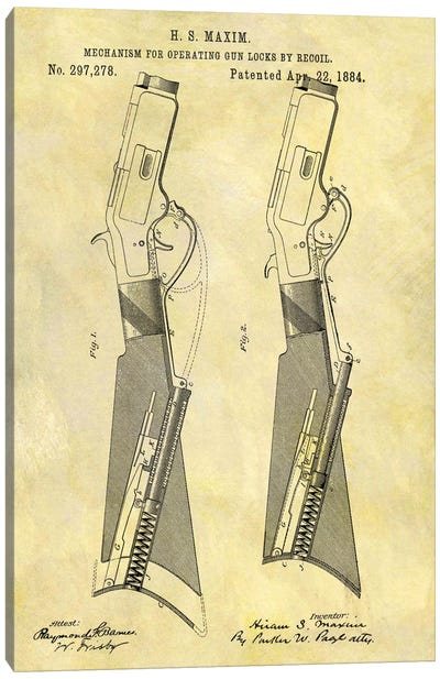 H.S. Maxim Mechanism For Operating Gun Locks By Recoil Patent Sketch (Foxed) Canvas Art Print