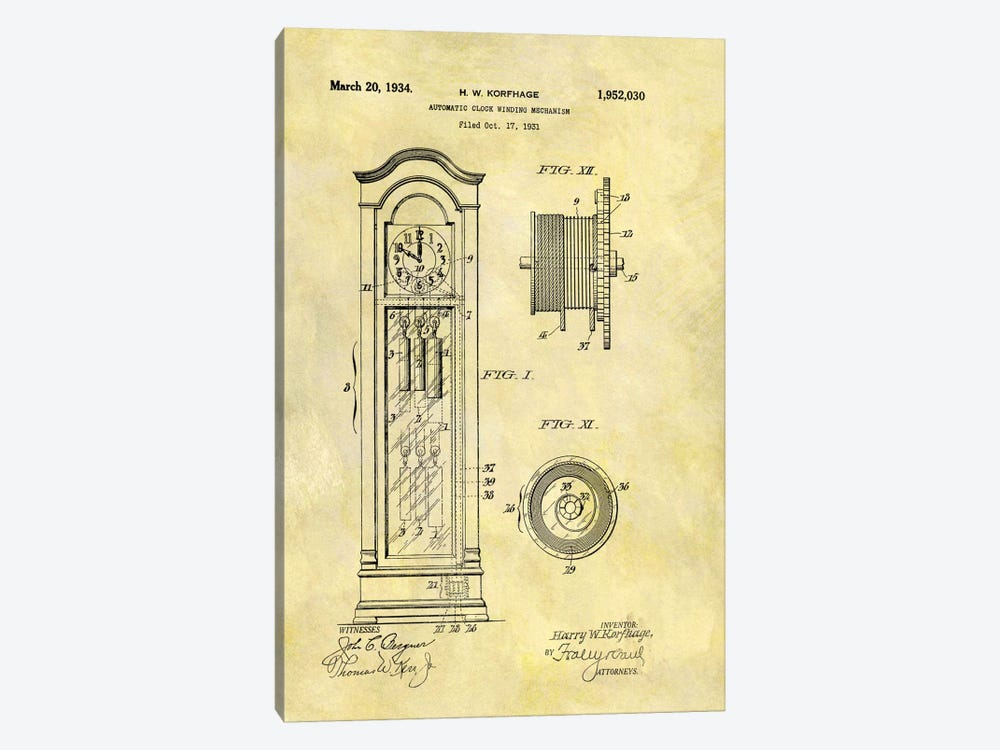 H.W. Korfhage Automatic Clock Winding Mechanism Patent Sketch (Foxed) by Dan Sproul 1-piece Canvas Art
