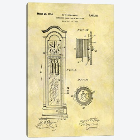 H.W. Korfhage Automatic Clock Winding Mechanism Patent Sketch (Foxed) Canvas Print #DSP31} by Dan Sproul Canvas Art Print