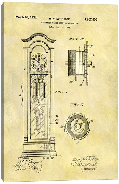 H.W. Korfhage Automatic Clock Winding Mechanism Patent Sketch (Foxed) Canvas Art Print