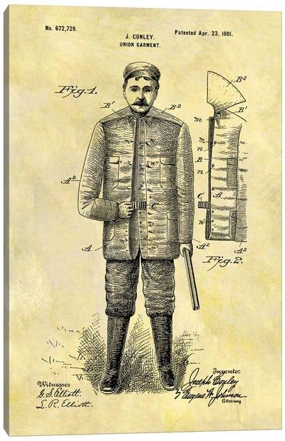 J. Conley Union Garment Patent Sketch (Foxed) Canvas Print #DSP32