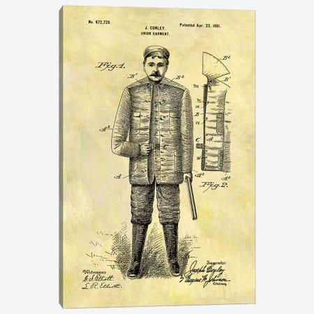 J. Conley Union Garment Patent Sketch (Foxed) Canvas Print #DSP32} by Dan Sproul Canvas Art Print