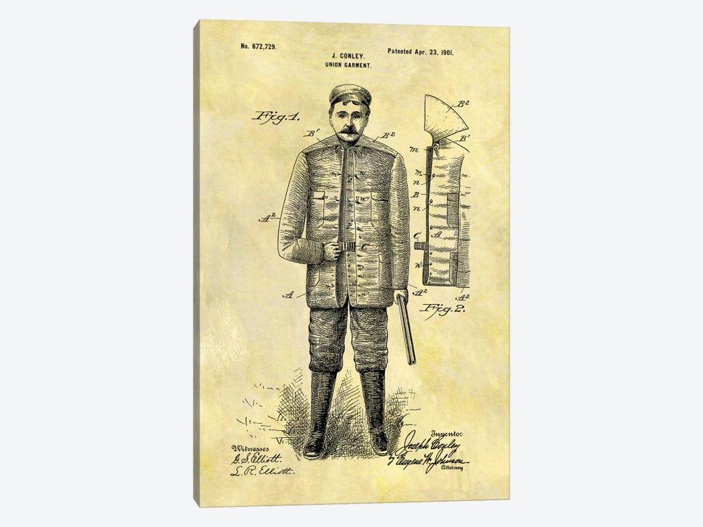 J. Conley Union Garment Patent Sketch (Foxed) by Dan Sproul 1-piece Canvas Art Print