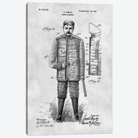 J. Conley Union Garment Patent Sketch (Vintage Grey) Canvas Print #DSP33} by Dan Sproul Canvas Art Print