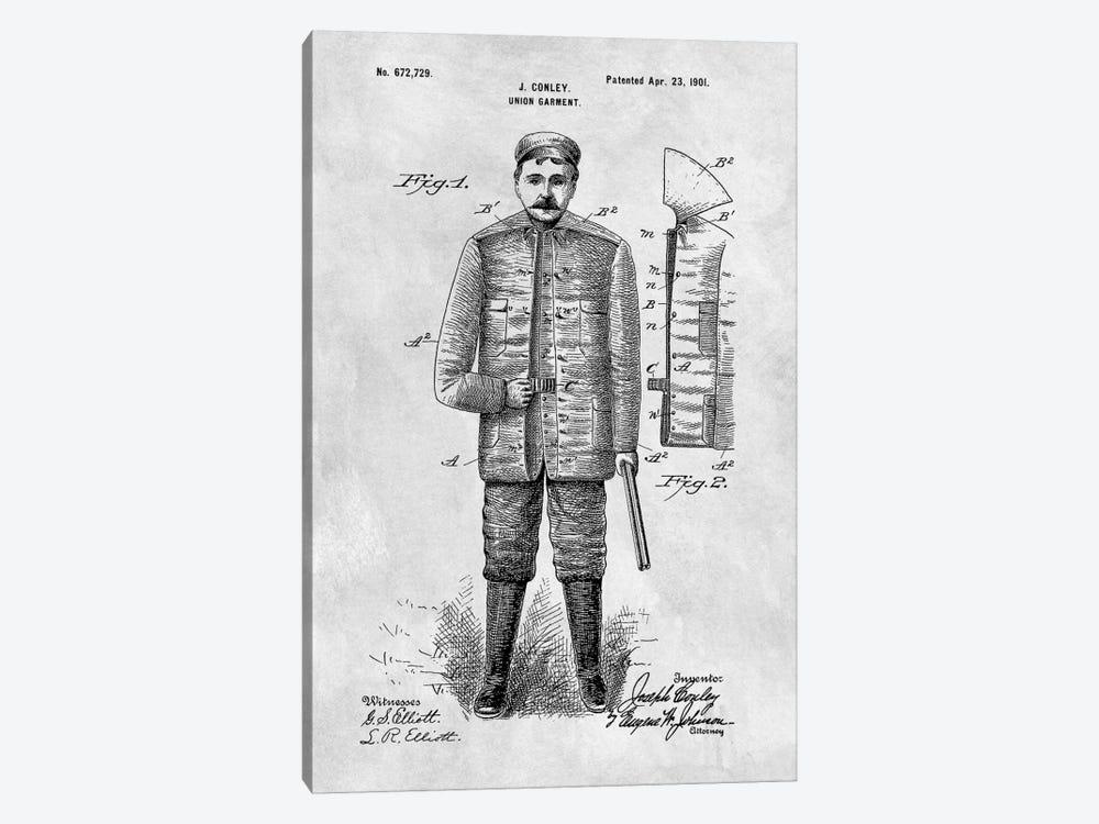 J. Conley Union Garment Patent Sketch (Vintage Grey) by Dan Sproul 1-piece Canvas Art