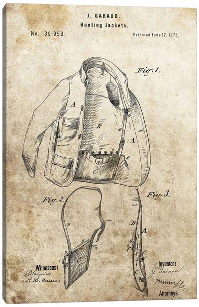 J. Garaud Hunting Jacket Patent Sketch (Foxed) Canvas Print #DSP34