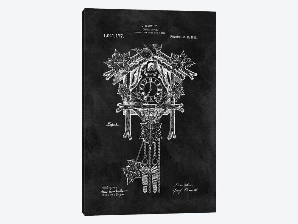 J. Schmidt Cuckoo Clock Patent Sketch (Chalkboard) by Dan Sproul 1-piece Canvas Art Print