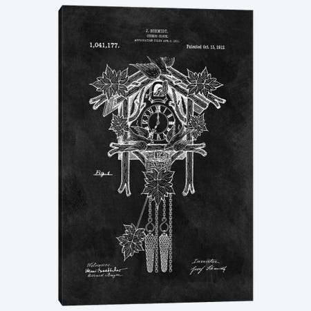 J. Schmidt Cuckoo Clock Patent Sketch (Chalkboard) Canvas Print #DSP36} by Dan Sproul Canvas Artwork