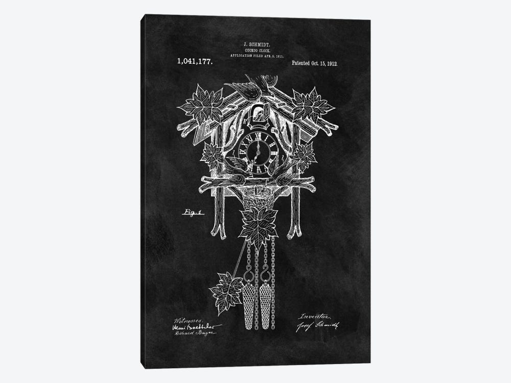 J. Schmidt Cuckoo Clock Patent Sketch (Chalkboard) by Dan Sproul 1-piece Canvas Art Print