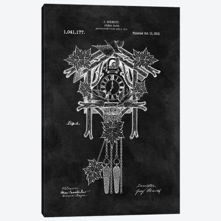 J. Schmidt Cuckoo Clock Patent Sketch (Chalkboard) Canvas Print #DSP36} by Dan Sproul Canvas Artwork