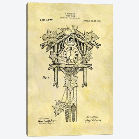 J. Schmidt Cuckoo Clock Patent Sketch (Foxed) Canvas Print #DSP37} by Dan Sproul Canvas Wall Art