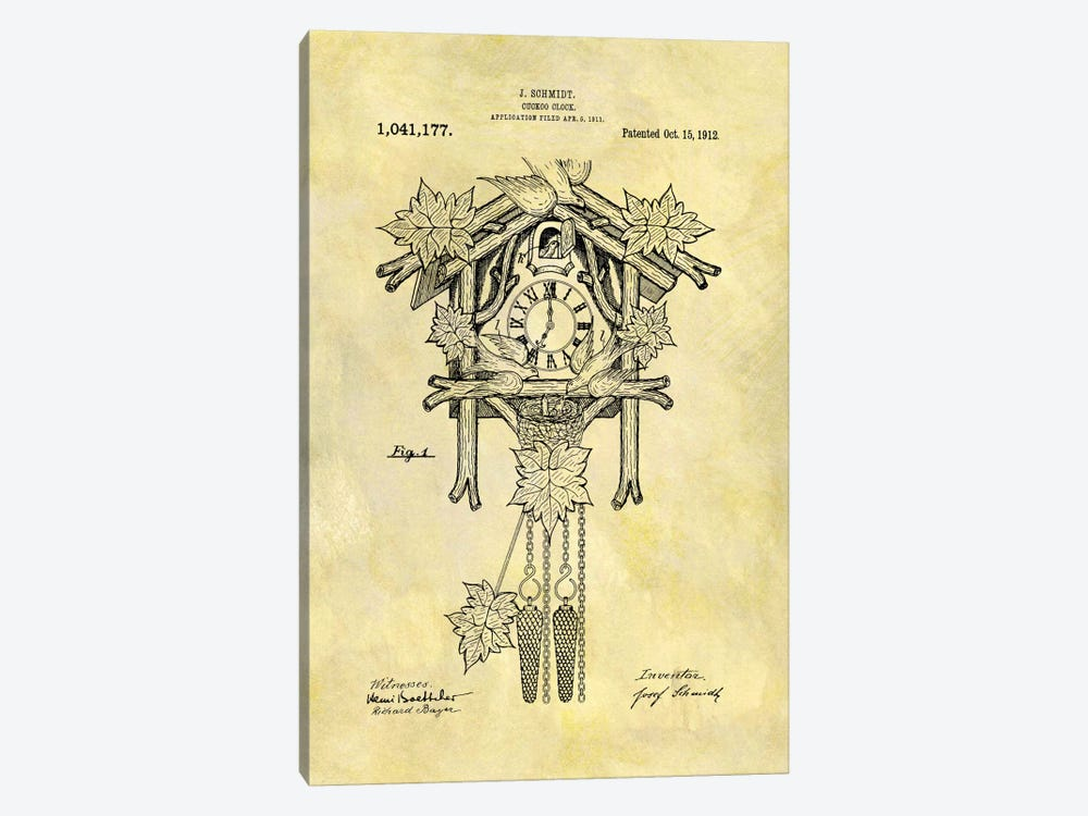 J. Schmidt Cuckoo Clock Patent Sketch (Foxed) by Dan Sproul 1-piece Canvas Art