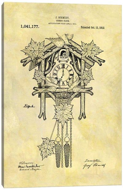 J. Schmidt Cuckoo Clock Patent Sketch (Foxed) Canvas Art Print