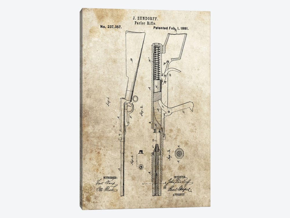 J. Zundorff Parlor Rifle Patent Sketch (Foxed) by Dan Sproul 1-piece Art Print