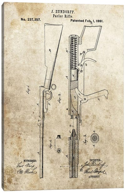 J. Zundorff Parlor Rifle Patent Sketch (Foxed) Canvas Art Print
