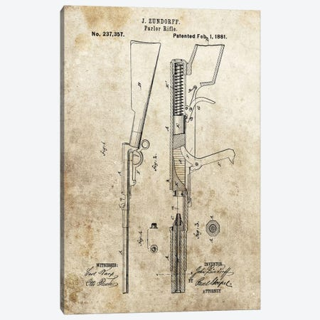 J. Zundorff Parlor Rifle Patent Sketch (Foxed) Canvas Print #DSP38} by Dan Sproul Canvas Art Print