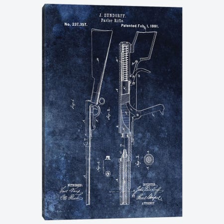 J. Zundorff Parlor Rifle Patent Sketch (Vintage Blue) Canvas Print #DSP39} by Dan Sproul Canvas Art Print