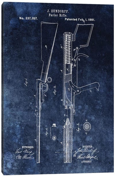 J. Zundorff Parlor Rifle Patent Sketch (Vintage Blue) Canvas Art Print