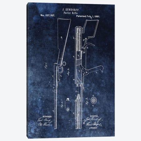 J. Zundorff Parlor Rifle Patent Sketch (Vintage Blue) Canvas Print #DSP39} by Dan Sproul Canvas Art Print