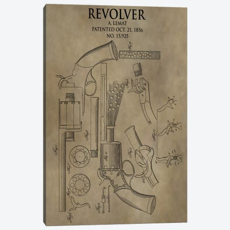 A. Lemat Revolver Patent Sketch (Antique) Canvas Print #DSP3} by Dan Sproul Canvas Wall Art
