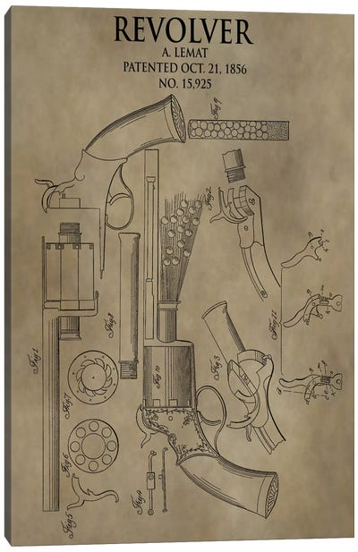 A. Lemat Revolver Patent Sketch (Antique) Canvas Art Print