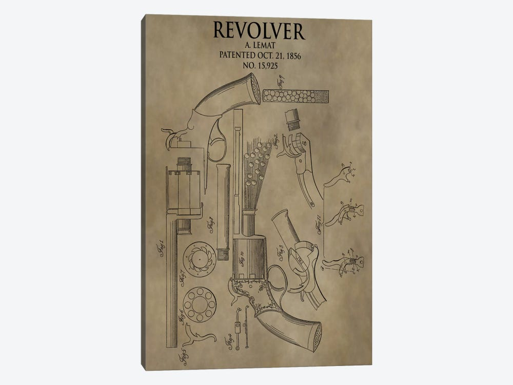 A. Lemat Revolver Patent Sketch (Antique) 1-piece Canvas Art Print