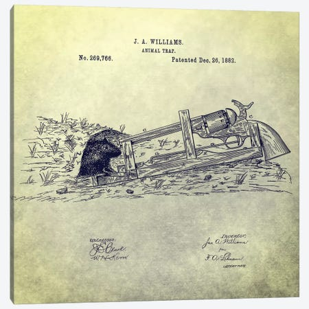 J.A. Williams Animal Trap Patent Sketch (Antique) Canvas Print #DSP40} by Dan Sproul Canvas Artwork