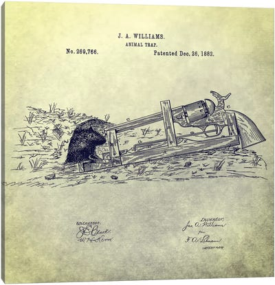 J.A. Williams Animal Trap Patent Sketch (Antique) Canvas Art Print