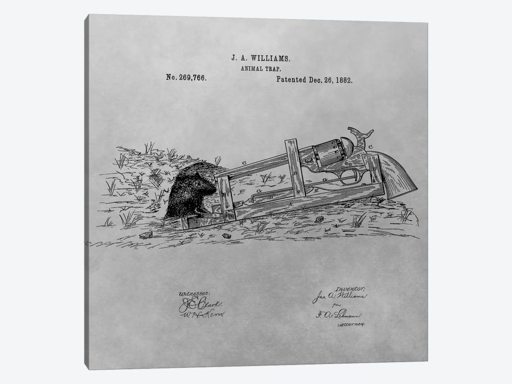 J.A. Williams Animal Trap Patent Sketch (Vintage Grey) by Dan Sproul 1-piece Art Print