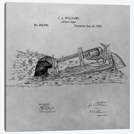 J.A. Williams Animal Trap Patent Sketch (Vintage Grey) Canvas Print #DSP41} by Dan Sproul Canvas Art