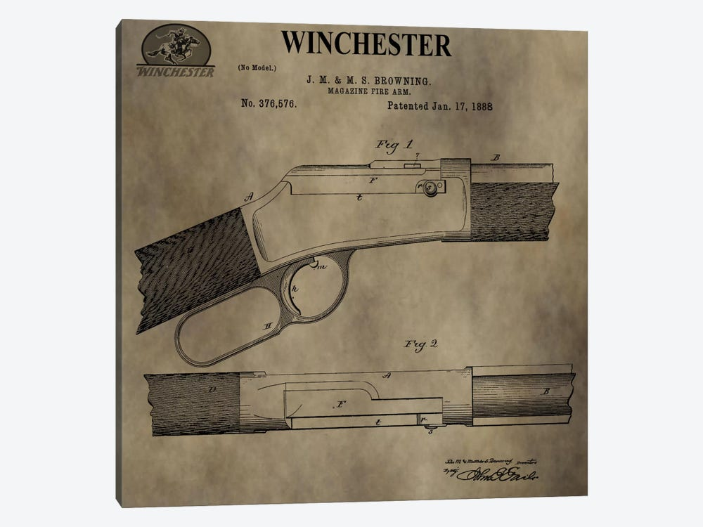 J.M & M.S Browning (Winchester) Magazine Fire Arm Patent Sketch (Antique) by Dan Sproul 1-piece Canvas Wall Art
