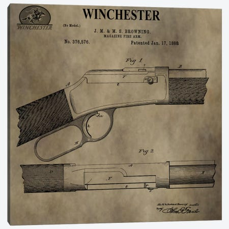 J.M & M.S Browning (Winchester) Magazine Fire Arm Patent Sketch (Antique) Canvas Print #DSP42} by Dan Sproul Canvas Artwork