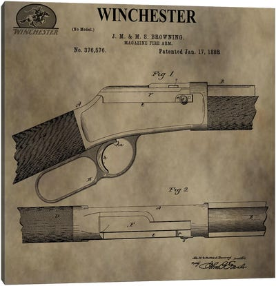 J.M & M.S Browning (Winchester) Magazine Fire Arm Patent Sketch (Antique) Canvas Art Print