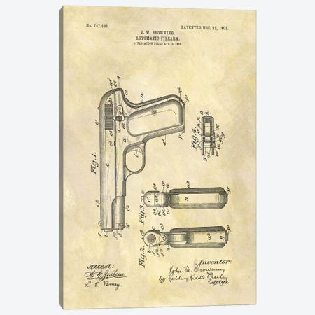 J.M. Browning Automatic Firearm Patent Sketch (Foxed) Canvas Print #DSP43} by Dan Sproul Canvas Art