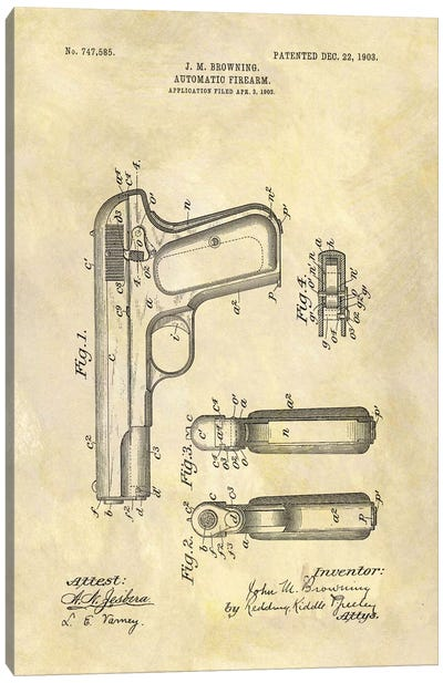 J.M. Browning Automatic Firearm Patent Sketch (Foxed) Canvas Print #DSP43