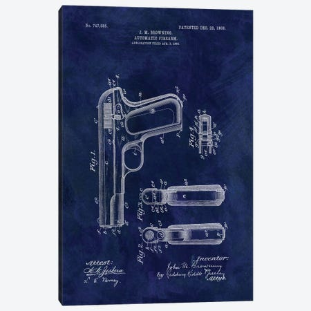 J.M. Browning Automatic Firearm Patent Sketch (Vintage Blue) Canvas Print #DSP44} by Dan Sproul Canvas Print