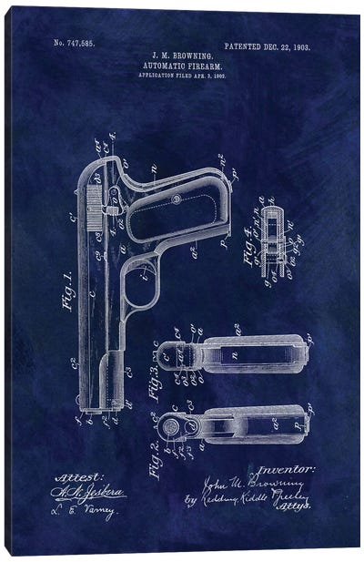 J.M. Browning Automatic Firearm Patent Sketch (Vintage Blue) Canvas Art Print
