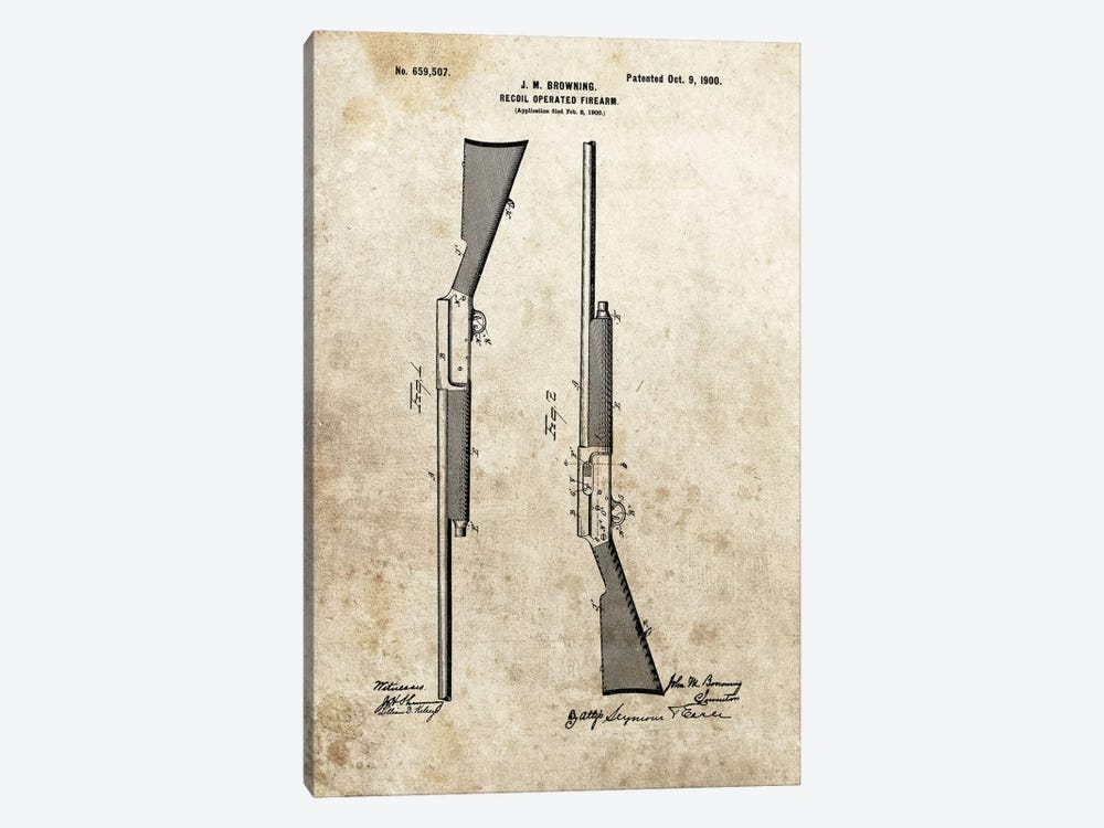 J.M. Browning Recoil Operated Firearm Patent Sketch (Foxed) by Dan Sproul 1-piece Canvas Print